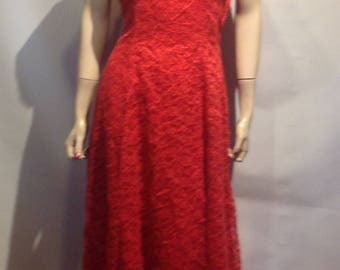 Original Red 1950's ROCKABILLY All RED All LACE Gown