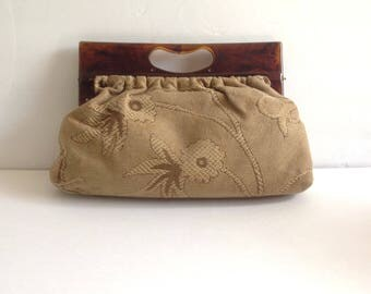 Vintage 60s 70s Tapestry Purse Tapestry Clutch Faux Tortoiseshell Handle / Carpetbag Purse / carpetbag / vintage clutch /sixcatsfunvintage