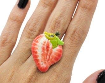 SALE Strawberry Resin Adjustable Statement Ring