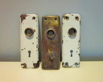 Brass Door Plates, Set of 3, Keyhole and Thumb Latch, Shabby Chic, Salvage, Vintage, Antique, Solid Brass Escutcheons