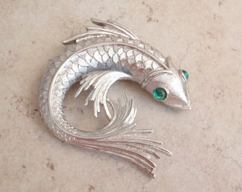 Koi Fish Brooch Silver Tone Monet Green Eyes Vintage 040517BT