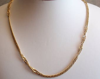 Gold Chain Necklace Sarah Cov Curb Twist 30 Inch Vintage 120513UP