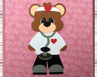 DOCTOR BEAR Embellishments Paper Piecing card making and scrapbooking