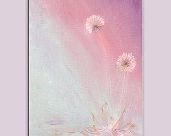 70% off ORIGINAL Oil Painting Dandelion Wishes Come True Brush Soft Pink Colors Foggy Soft Grey Purple Handmade Art by Marchella