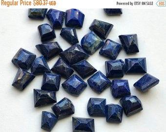 ON SALE 50% WHOLESALE 10 Pcs Lapis Lazuli Fancy Cut Cabochons, Lapis Rose Cut Flat Back Cabochons, Lapis Lazuli Jewelry, 10-15mm - Ns3315