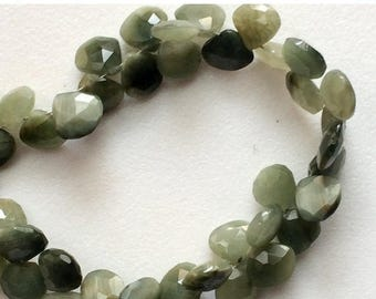 65% SALE Cats Eye Stone, Cats Eye Faceted Heart Briolettes, Green Cats Eye Beads, Chrysoberyl, Cats Eye Necklace, 8mm Beads, 4 Inch Strand,