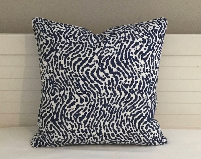 Thibaut St Croix in Navy and White Designer Pillow Cover with or without Piping- Square, Lumbar and Euro Pillow Cover Sizes