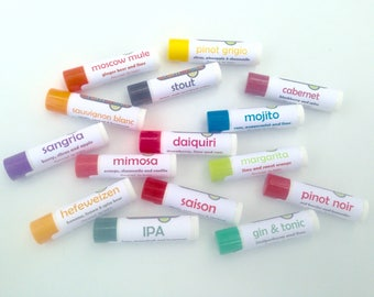 Any 15 cocktail-flavored lip balms from Aromaholic - add note at checkout with flavors - Bourbon lip balm, Daiquiri lip balm and more