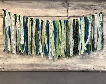 Lime Green Turquoise Black and White / Lace and Fabric Shabby Tattered Rag Garland Bunting /Nursery Wedding Baby Shower Party Decor