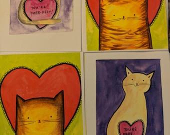 Set of 4 Cat Valentine Postcards