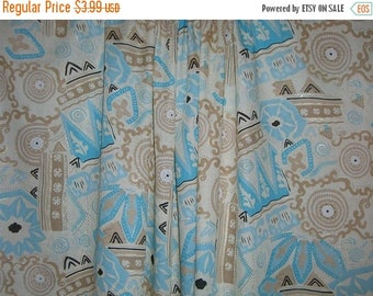 ON SALE SPECIAL--Aqua and Coffee Abstract Print Cotton Lawn Fabric--One Yard