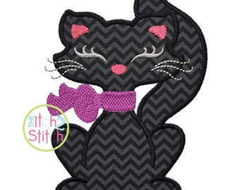 Black Cat Girl Applique Design for Machine Embroidery, Shown with our Cutie Patootie font (NOT included) INSTANT DOWNLOAD