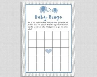 Elephant Baby Shower Bingo Card, Blue Elephant Grey Chevron Baby Game, Baby Boy,  INSTANT DOWNLOAD