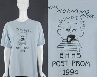 MOVING SALE Party T-Shirt Blue Vintage 90's High school Prom T-Shirt Hilarious Morning After Distressed Vintage Tee