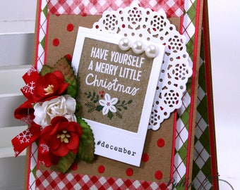 Merry Little Christmas Greeting Card Polly's Paper Studio Handmade