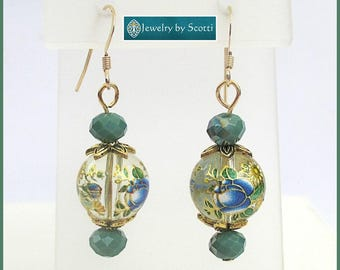 Chinese Style Flower Bead Earrings Gold Filled Teal Green Blue Long Dangle Earrings Painted Flower Pattern Sparkly Colorful Gold Jewelry