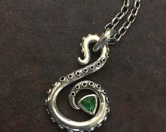 Tsavorite Garnet & Sterling Silver Tentacle Necklace
