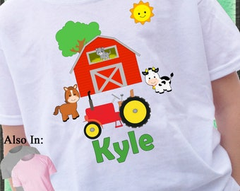 Custom Farm Animal and Red Barn Shirt with Red Tractor Horse Cow Sheep Cat Red Barn future Farmer - farm shirt- farmer shirt- tractor