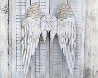ON SALE Large Angel Wings~Nursery~Angel Wings~Angel Wing Wall Decor~Guardian Angel~Religious Decor~Wall Cross~Shabby Chic Angel Wings
