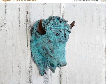 ON SALE Bison Head~Mini Faux Taxidermy~Bison~Buffalo Decor~Nursery Animal Head~Patina