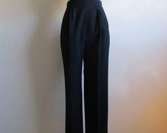 1980s BJ Larken Black Pants Vintage Womens Wool Crepe 80s Pleated Trousers 10