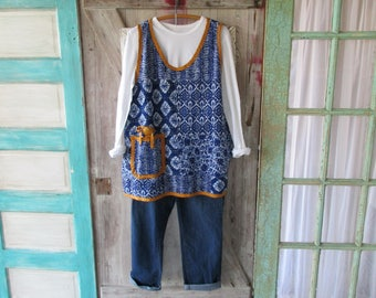 OOAK camisole vest tunic made from indigo blue Kantha quilt patchwork ready to ship