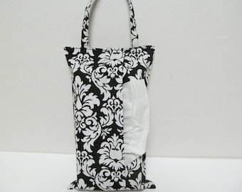 Hanging Tissue Box Cover For 85 Count kleenex/White Damask On Black
