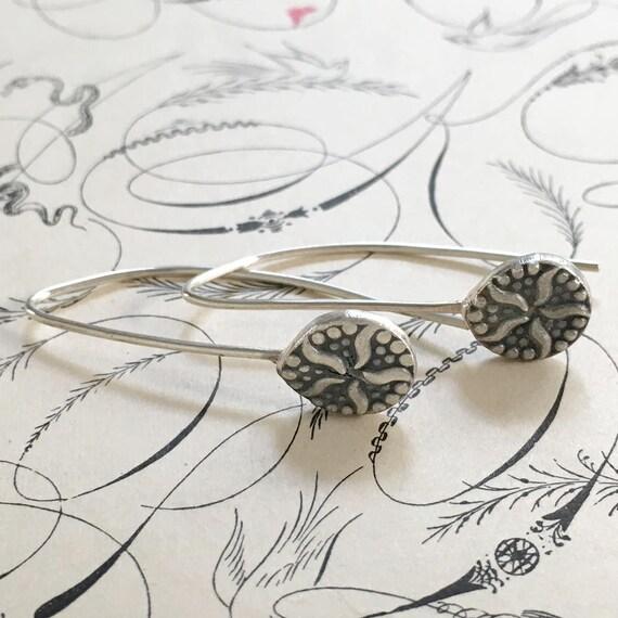 Drop Earrings   Starfish Earrings   Vintage Button Jewelry