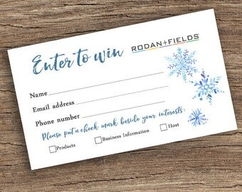 Rodan + Fields Prize Entry Ticket - Raffle Card - WIN Form - Printable - Snowflake Pattern - Holiday - Instant Download
