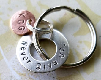 Never give up Key Chain with Hardware Washer & Copper Disc