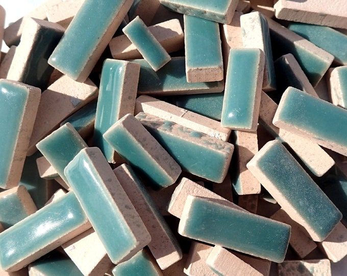 """Deep Sea Green Mini Rectangles Mosaic Tiles - 50g Ceramic in Mix of 3 Sizes 1/2"""" and 3/4"""" in Phthalo Green"""