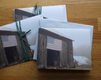 Foggy Flag on Barn - Photo Notecard - Free Shipping