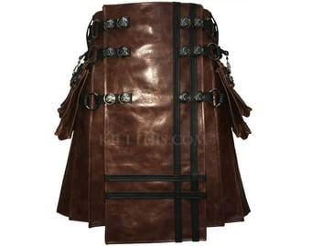 Interchangeable Worn Brown Leather Black Leather Double Cross Utility Kilt with Large Removable Cargo Pockets & Inside Pockets