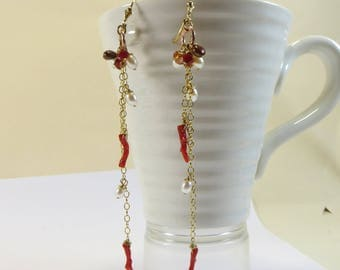 Coral Luxe Earrings, Fabulous Coral Branches, Freshwater Pearls & Rose Gold Vermeil, Coral Earrings, Long Coral and Pearl Chain Earrings
