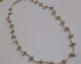 Vintage articulated nubby bumps sterling silver 925 statement necklace, jewelry