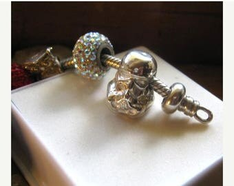Summer time Sale Event StormTrooper Bead C3Po Darth Vader fine silver charm large hole 5mm handmade fine jewelry European style bracelets pe