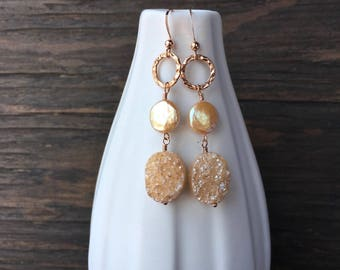 Rose gold and champagne druzy earrings, unique rose gold earrings