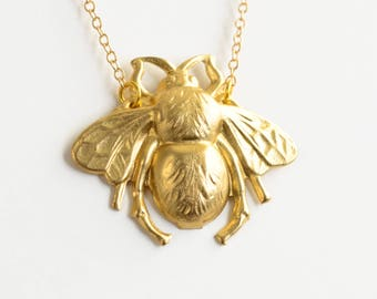 Bee Necklace, Gold Bumblebee Charm Necklace, Honey Bee Necklace, Summer Jewelry,
