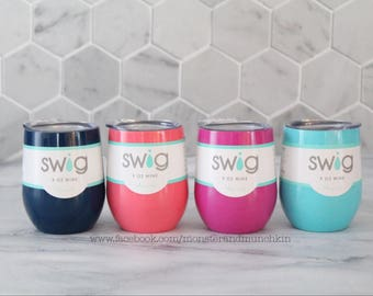Swig Stainless Wine Tumbler, monogrammed tumbler, stainless wine glass, wine tumbler with lid, insulated stainless cup, personalized, wine