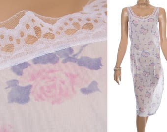 Adorable XXXL soft white pink and grey pretty rose design heavyweight nylon and white lace detail 80's vintage full slip petticoat - PL1707