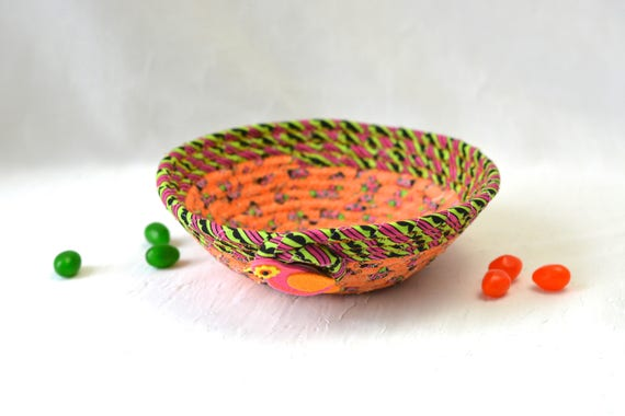 Orange Catchall, Ring Dish Tray, Cute Desk Accessory Bowl, Fiber Basket, Artisan Quilted Gift Basket, Decorative Coiled Bowl
