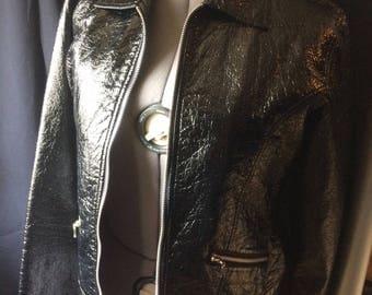 Shiny Black Pleather Moto Jacket