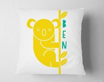 Personalized Koala Pillow, Name Nursery Decor, Boy Nursery Animal Name, Baby Name Big Boy Room Pillow, Australia Travel Nursery Decor Bear