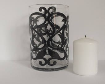 Handpainted oriental design on glass candle jar