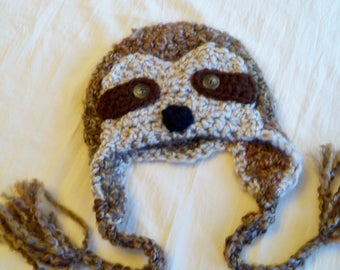 READY to SHIP - Sloth Hat - Baby Sloth Hat - Simon the Sloth - Baby Hats - Newborn to Adult Sizes - Soft Ear flap hat - by JoJosBootique