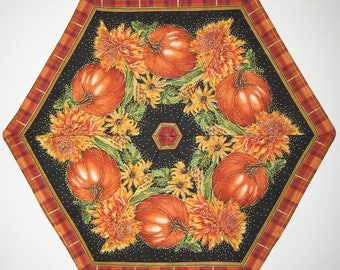 Autumn Table Topper, Thanksgiving, handmade, quilted, fall leaves, pumpkins, chrysanthemums, Hexagon, wall hanging, Timeless Treasure