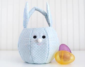 Personalized Easter Basket for Boys, Easter Bunny Basket, First Easter Fabric Easter Basket, Easter Tote Bag, Easter Candy Bag, Egg Hunt Bag