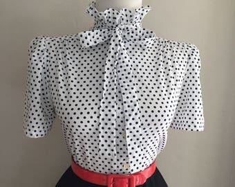 Vintage 1950s 1960s Atomic Blue & White Polka Dot Short Sleeve Button Down Tie Neck Pussy Bow Blouse Top