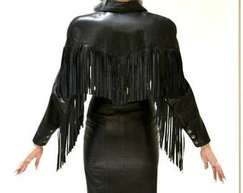 SALE Vintage Black Leather Dress With Fringe Size Small By Michael Hoban North Beach Western Biker Motorcycle Cowgirl Dress