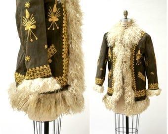 Vintage Embroidered Shearling Afghan Jacket Coat Small Medium//  70s Shearling Coat Embroidered Sheepskin Fur Boho Afghan Jacket